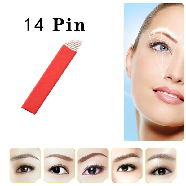 50 Pcs 14 Pin Permanent Makeup Manual Sopracciglio Aghi Lama per 3D Ricamo Microblading Tattoo Pen Machine
