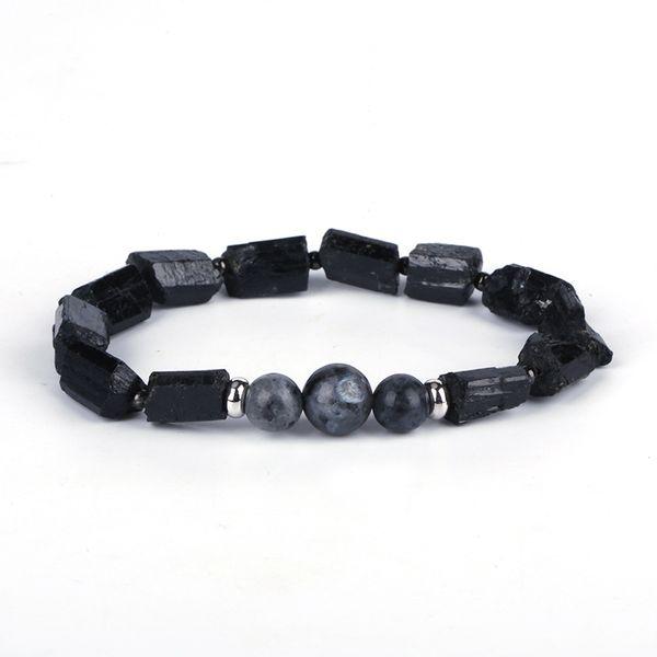 Natutal Noir Tourmaline Gris Gris Labradorite Semi Pierre Perle Charme personnalisé Unisexe Guérison Énergie Bracelet Pour Homme Femmes