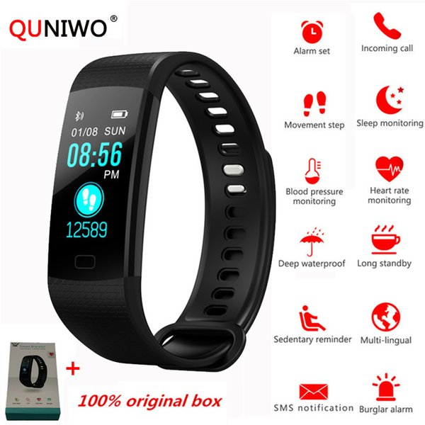 2018 Y5 Smart Watch Heart Rate Monitor Fitness Tracker Bracelet Colorful Screen Waterproof Watches Blood Pressure VS Miband 2 3