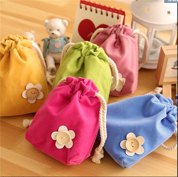 Cute flower pull - style beam pocket creative fresh candy color storage bag FLOWER string children girls lady coin purse wallets