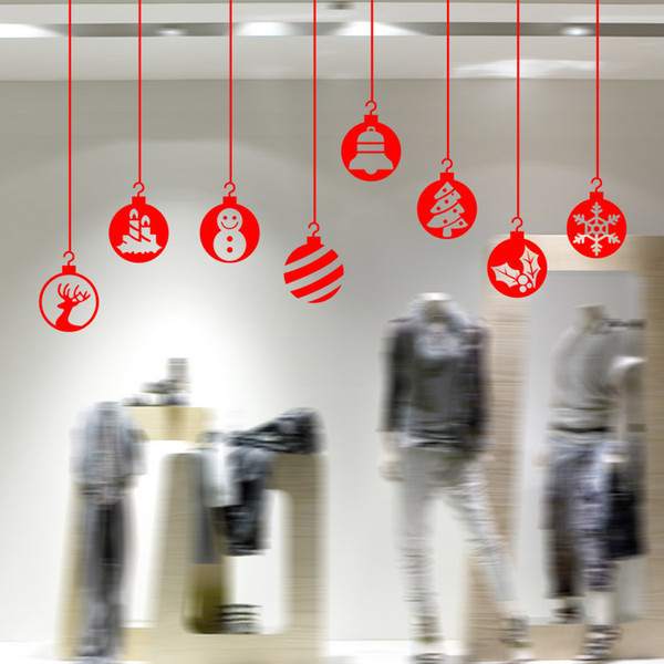 Creative DIY Christmas Bells Pattern Vinyl Decal New Year Letters Shop Window Christmas Living Room Bedroom Decorations Sticker Wall Decor
