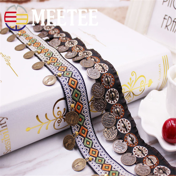 Meetee Retro copper hand-made beads ribbon Trims folk style ancient costume lace DIY garment accessories lace and ribbon ZK084
