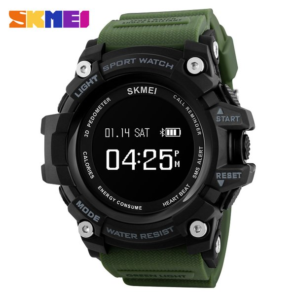 SKMEI Men Smart Watch Heart Rate Monitor Bluetooth Watch Pedometer Calories Chronograph Top Brand Luxury Digital Sports Watches
