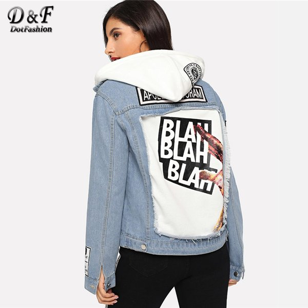 Dotfashion Blue Patched Letter Print Denim Jacket Women Coats And Jackets Casual Autumn 2018 Clothing Single Breasted Outerwear