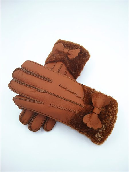 Free Shipping -New Quality Handmade women Warmer Winter Wool Gloves Mittens Gloves Fashionable Leather Gloves women