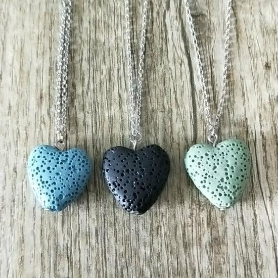 13 цветов Love Heart Лава Камень Ожерелье Йога Ароматерапия Эфирное Масло Диффузор Вулкан Ожерелье Женщины MKI Ювелирные Изделия