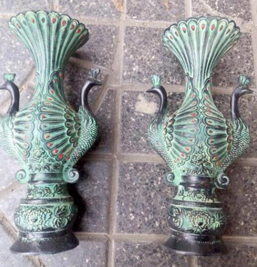 A pair China antique Bronze Peacock statues Vases