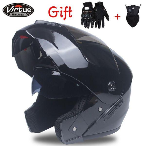 Men flip up motorcycle helmet dual shield with inner sunny lens modular moto racing helmets DOT