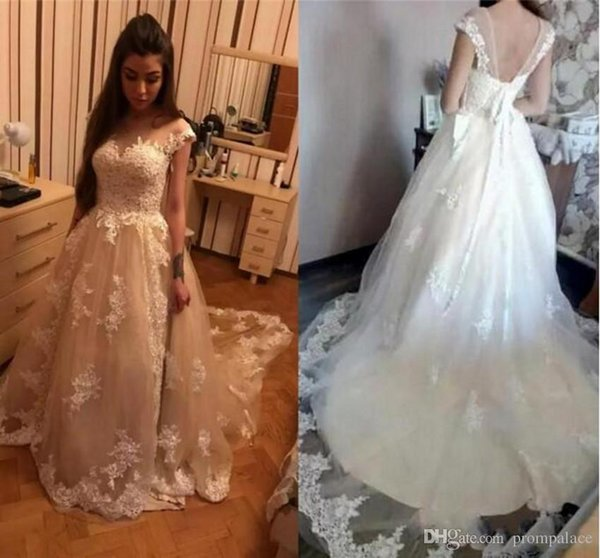 Luxury Lace A Line Wedding Dresses Off Shoulder Capped Sleeves For Arab Bride Custom Bridal Dress Muslim Wedding Gowns