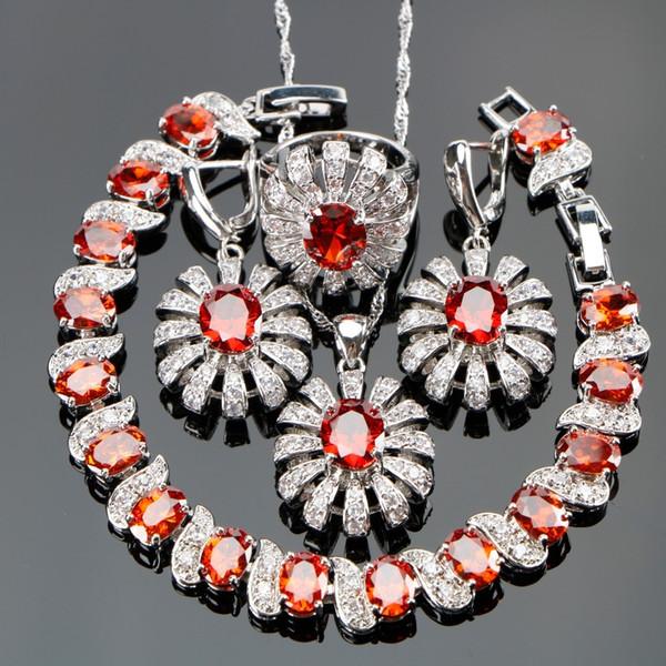 b9b1c71dbe11 Plata 925 Piedras Rojas Blanco CZ Disfraz Mujeres Conjuntos de Joyas Aretes    Colgante   Collar
