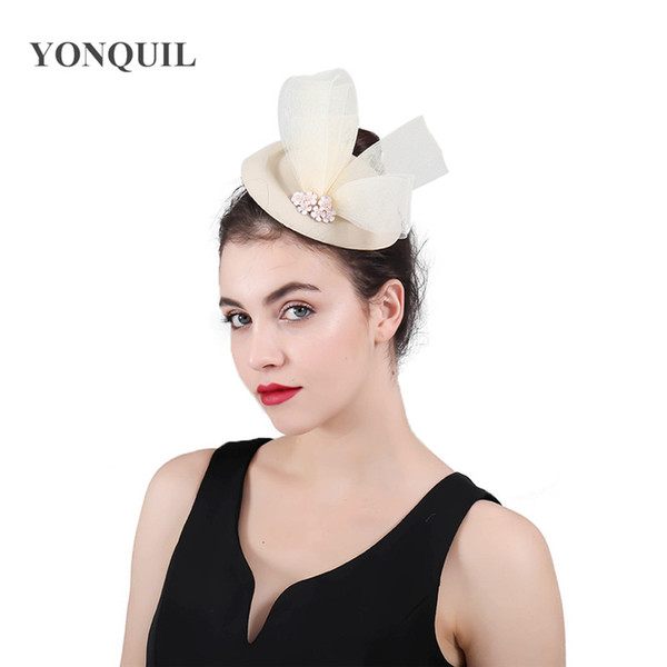 Winter charming pillbox fedora hats wedding women tulle bow wool felt fascinator for party show race royal headwear chapeau caps SYF427