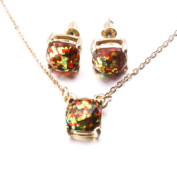 New York Fashion 14colors Glitter Opal Earrings Necklaces Jewelry Set Gold Color Small Square Earrings Necklace For Women Brand Jewelry