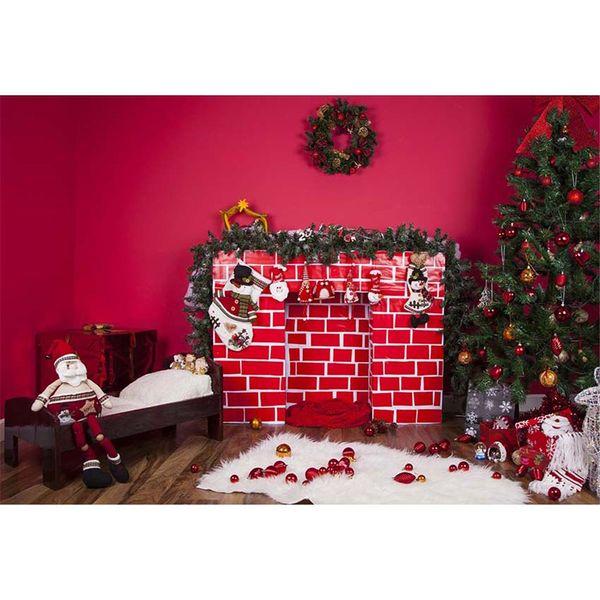 Foyer Intérieur Guirlande De Fête De Noël Toile De Fond Imprimé Hot Rose Mur Jouets Boules Rouges Arbre De Noël Enfants Photo Shoot Backgrounds