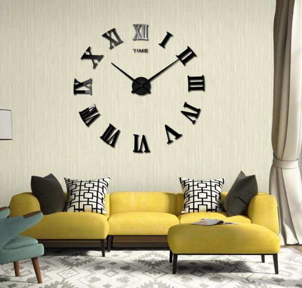 Chiffres Romains Horloges Murales Acrylique BRICOLAGE Horloge Murale Creative Salon Muet Acrylique Stickers Muraux Maison Salon Décoration