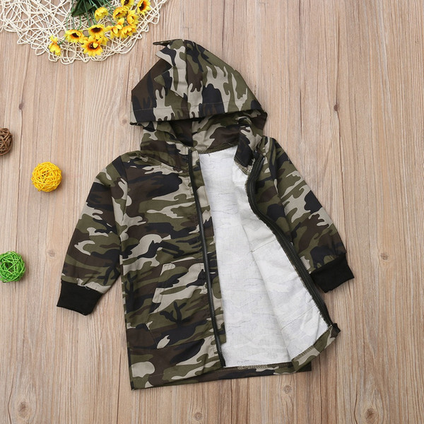 Fashion Kids Baby Boy Camouflage Dinosaur Coat Boys Cotton Long Sleeves Top Hooded Outwear Zipper Pockets Casual Jackets Coats
