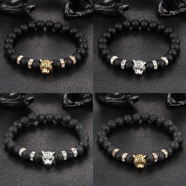 Fashion Leopard Head Charm Black Mala Beads Elastic Crystal Bracelets Femme Handmade Vintage Punk Jewelry Free Shipping D378S