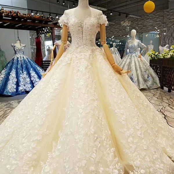 Zarif Balo Gelinlik O-Boyun Kısa Kollu Uzun Gelinlik Fırça Tren Aplikler Ile Lady Düğün Parti Elbise
