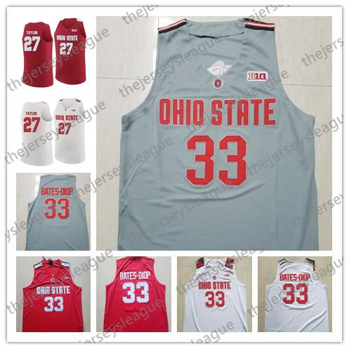 Ohio State Buckeyes #33 Keita Bates-Diop 27 Fred Taylor 45 Connor Fulton White Grey Red Stitched NCAA College Basketball Jerseys