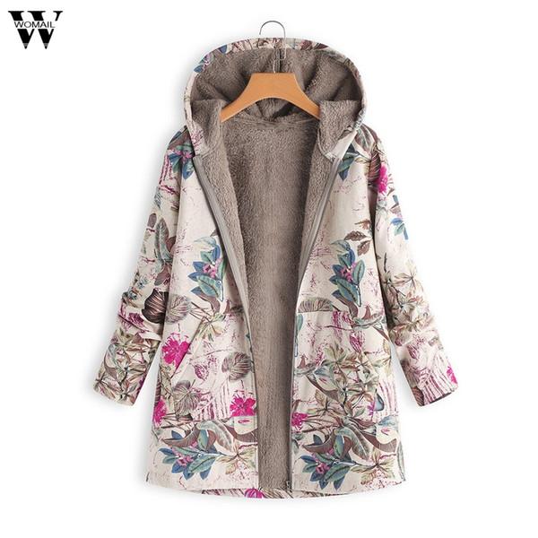 Manteaux à capuche en coton à manches longues Manteau Outwear Manteau Warm Outwear Floral Print Hooded Pockets Vintage surdimensionné manteaux 23