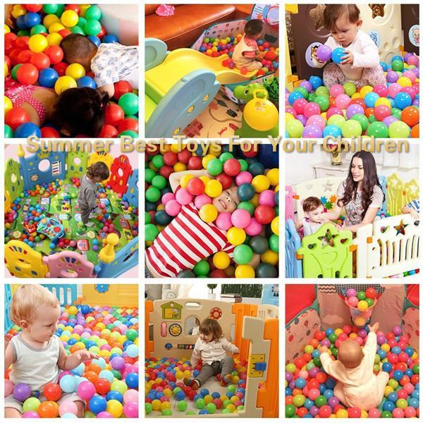 2018 New 1Set/100Pcs 5.5cm Ball Fun Ball Soft Plastic Ocean Ball Baby Kid Toy Swim Toy Water Pool Ocean Wave Balls Diameter Summer Best Toys