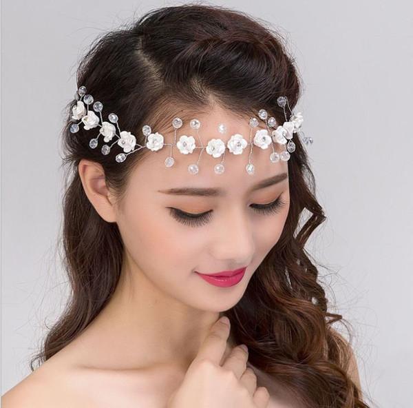 Bridal soft clay rose soft chain headdress Crystal forehead short hair wedding headdress Korean wedding dress hair accessories