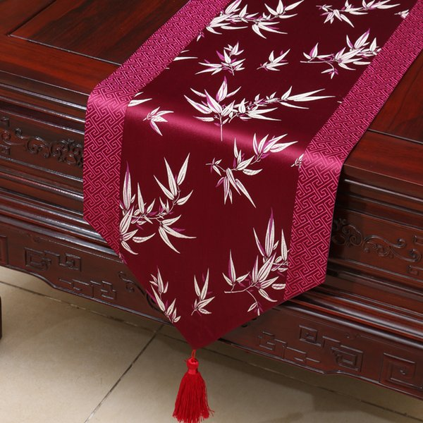 top popular 230x33 cm Long Bamboo Chinese Silk Brocade Table Runner Decorative Wedding Dinner Party Elegant Table Cloth Damask Dining Table Mat 2021