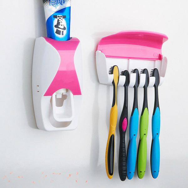 Moda Ev Banyo Otomatik Diş Macunu Dispenser + 5 adet Diş Fırçası Tutucu Set Aile Seti Duvara Monte Raf Banyo Oral