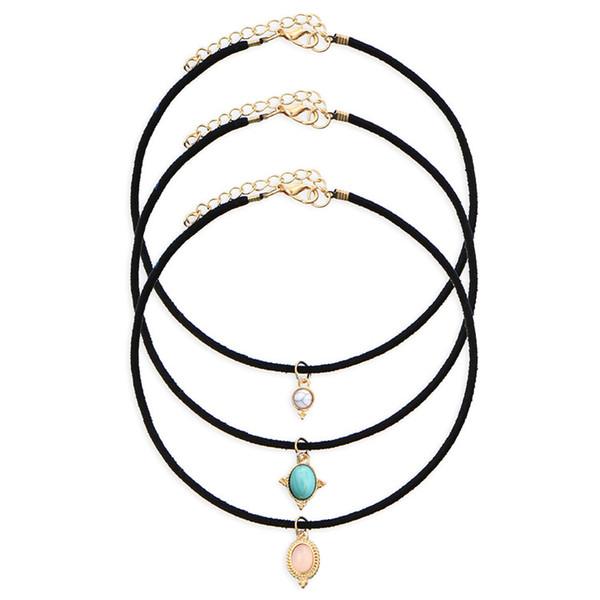 3 Color Crystal Stone Black Velvet Chokers Necklaces Vintage Created Stone Pendants Sets Necklace For Woman Collier Femme