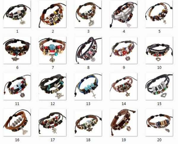20 style selection Genuine Leather Beads eagle Butterfly Clover Cupid heart Buddhism Cross Pendant Bracelets Men Women Charm Bracelet