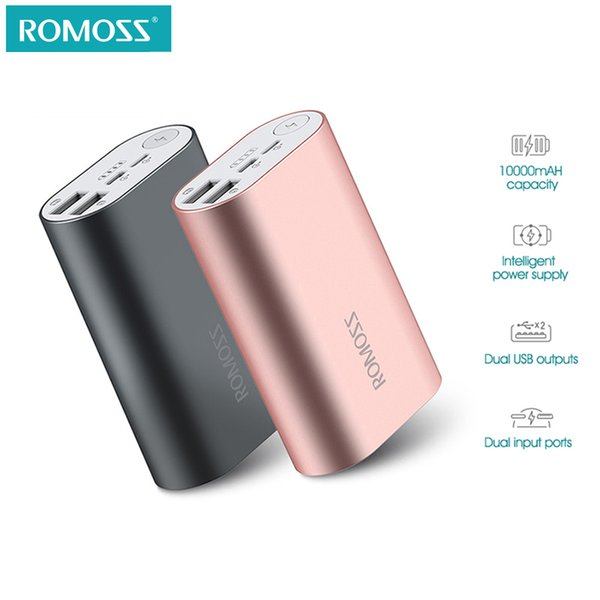 ROMOSS ACE 10000mAh Dual USB Outputs Aluminum Alloy External Battery Pack Power Bank For iPhone 7 7plus Tablets Smartphone
