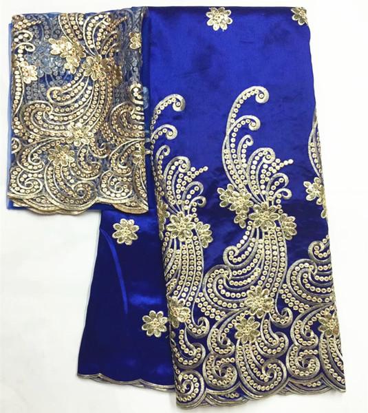 African George Fabric High Quality Nigerian George Lace Fabric,ROYAL BLUE African Swiss Lace Fabric For Nigerian Wedding