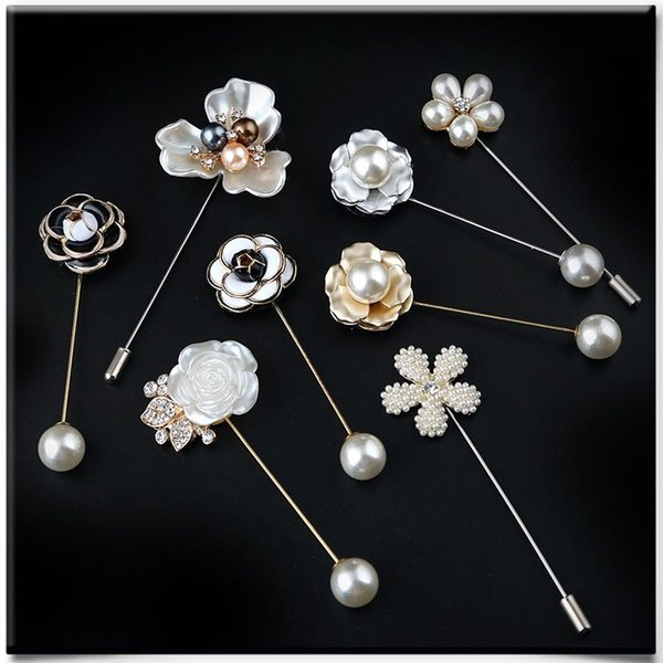 2018 Fashion Camellia Flowers Pearls Brooches Grace Women Sweaters Brooch Shell Pearl And Crown Pins 10 Models Wholesale Melody2041