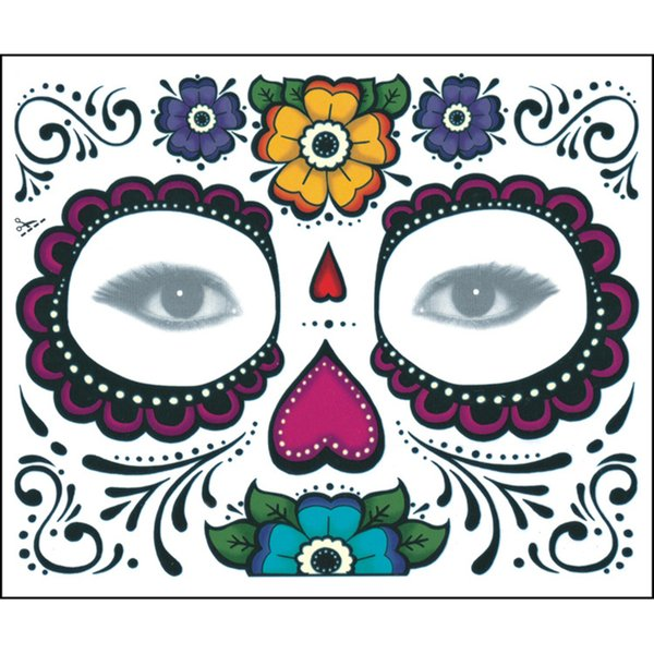 4 Styles 150mm * 125mm Festa di Natale Facciale Day Of The Dead Faced Tattoo Halloween E Masquerade Ball Must Pretty Tattoo Sticker Impermeabile