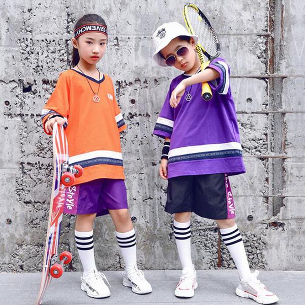 Colores Kids Loose Ballroom Jazz Hip Hop Dance Competition Disfraces Girl Boy Black T Shirt Pants Dancing Clothing Outfits