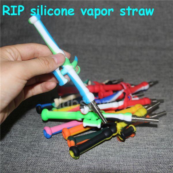 Silicone Nectar Collector 10mm Mini Water Pipes con GR2 Titanium Nail Concentered Honey Dab Contenedores de aceite de silicona