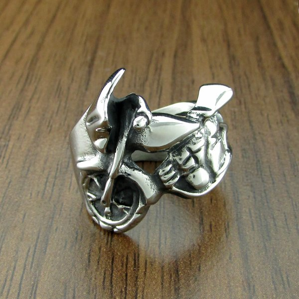 Free Shipping! Punk 316L Stainless Steel Silver White and Black Racing motorcycle Ring Biker Rings Jewelry