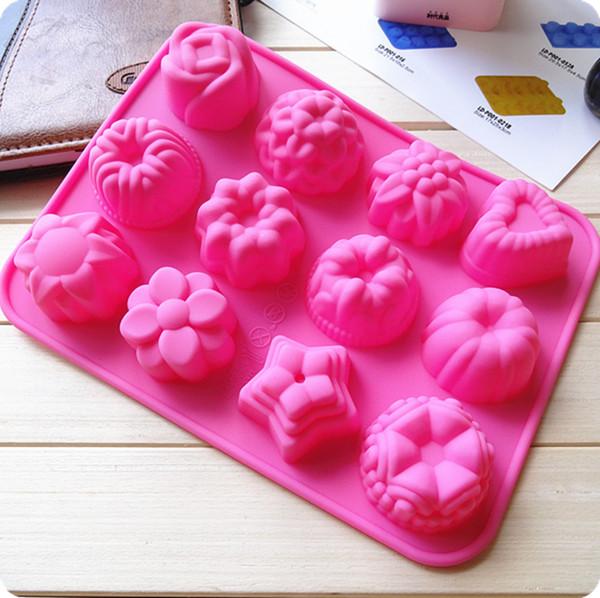 12 muffa casalinga del silicone del dolce del budino di cioccolato della muffa della gelatina del budino del fiore dei fori differenti