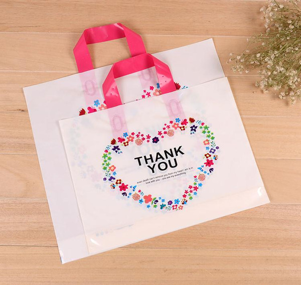 33*25cm Custom Birthday Party Wedding Favor Thank You Gift Bags Plastic Pouches Shopping Gift Big Plastic Bags with Handle SN1440