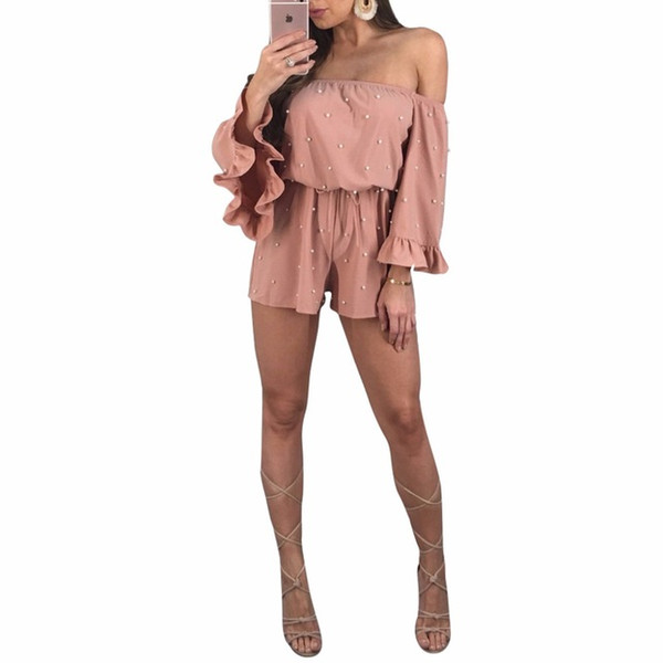 2018 Summer women Overalls Jumpsuits Sashes Full Sleeve Slash Neck Outfit playsuits casual sexy fashion Bandage rompers