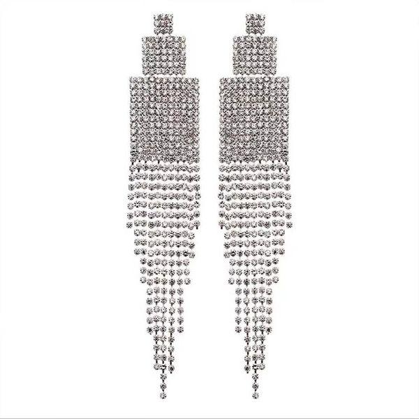 Luxury Clear Rhinestone Diamante Drop Earrings Crystal Square long Tassel Earrings Big Dangle For Women