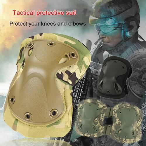 4pcs/set Tactical Knee Pads set Combat Airsoft Paintball Gear Hunting Equipment Elbow Protector Gear Shooting Pads Tactical Protector Gear