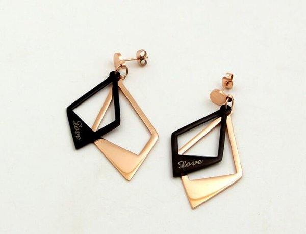 Japanese and Korean fashion temperament LOVE hollow double black diamond rose gold earrings hipsters wild titanium steel ear jewelry