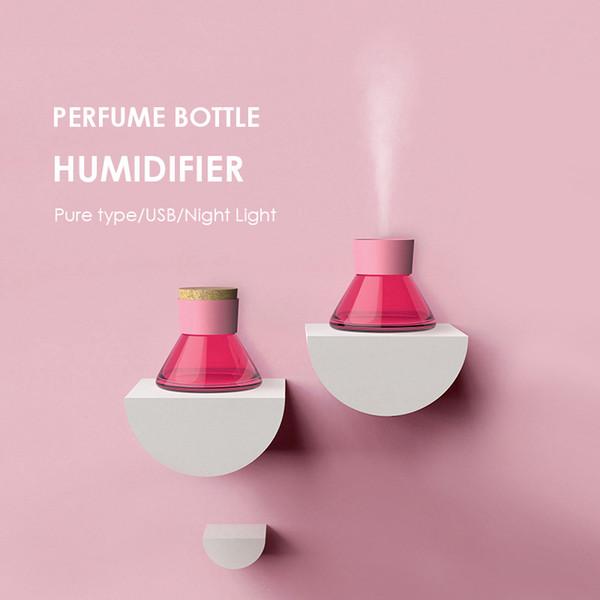 Nouveau Creative Bouteille De Parfum Humidificateur Pureness Type Ultrasons Humidificateur À Air Chaud LED Lumière USB Diffuseur Purificateur