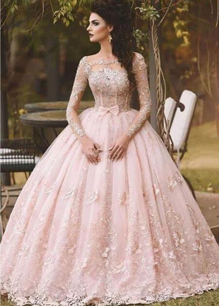 Robes de bal à manches longues Robe de bal dentelle Dentelle Appliqué Bow Sheer 2018 Vintage Sweet 16 Filles Debutantes Quinceanera Robes de soirée
