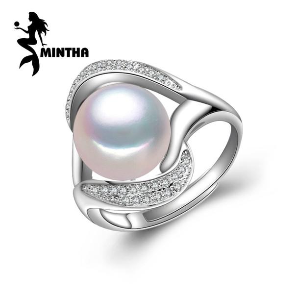 MINTHA 2018 nuevo, anillos de perlas para mujer, anillo de plata de ley 925, anillo de gran tamaño de perlas naturales, anillos de fiesta joyería fina Y1892607