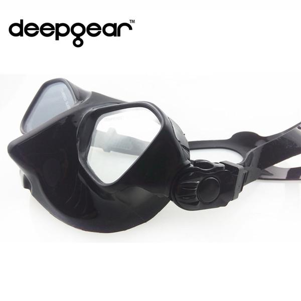 Ensemble de plongée DEEPGEAR pour masque de plongée masque noir et peignes de tuba engrenages en silicone souple liquide de plongée masque de plongée avec tuba trempé