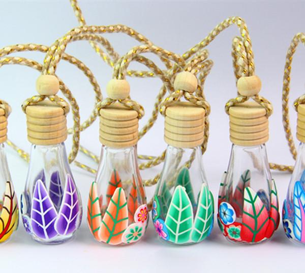 HIgh Qualit 100pcs lot Glass+ Soft Ceramic Perfume Bottle Polymer Clay Vials for Essential Oil Car Decoration Fragrance Bottle Free DHL