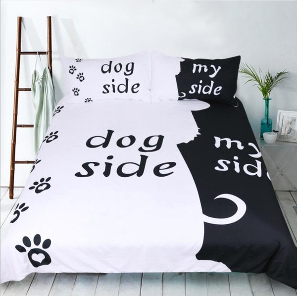 Hot Cat&dog Side letter pattern home textile three-piece suit European and American quilt cover three-piece bedding set