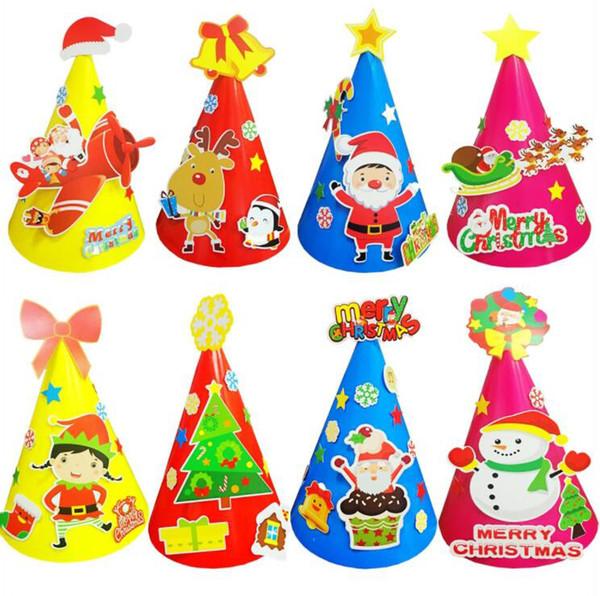 Kindergarten Weihnachten.Großhandel Kindergarten Kinder Diy Weihnachten Hüte Kinder Geburtstag Lustige Diy Party Cap Erwachsene Kinder Party Weihnachtsmann Schneemann Elch