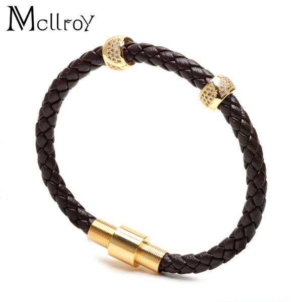 Mcllroy Stainless Steel Bangle Men Leather Cord Bracelet&Bangle Black Color Leather Bracelet For Men Wristband Rope Jewelry